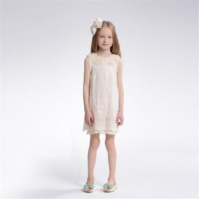 6ee66e9d42b5 3-11 Age Children Summer Beige Lace Sleeveless Cotton Dresses Girl Princess  Dress Kids Baby Girls White Dress SH