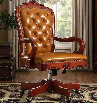 Vintage Carved Solid Wood Swivel Chair Boss Chair Leather Office