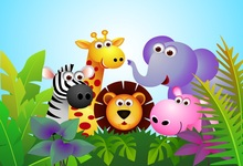 Laeacco Cartoon Jungle Party Lion Elephant Flowers Baby Photo Backgrounds Customized Photographic Backdrops For Studio