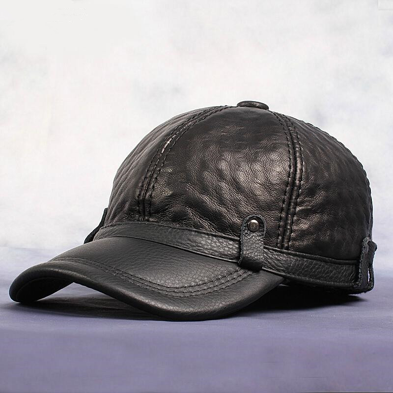 HL070-1 Men's genuine leather baseball cap brand new style winter warm Russian real leather black GOLF caps hats hl171 f spring genuine leather baseball sport cap hat men s winter warm brand new cow skin leather newsboy caps hats 5 colors