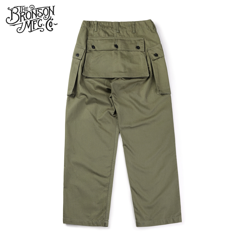 Bronson Us Military Style USMC HBT P44 TROUSERS Mens Cotton Vintage Straight Casual Pants