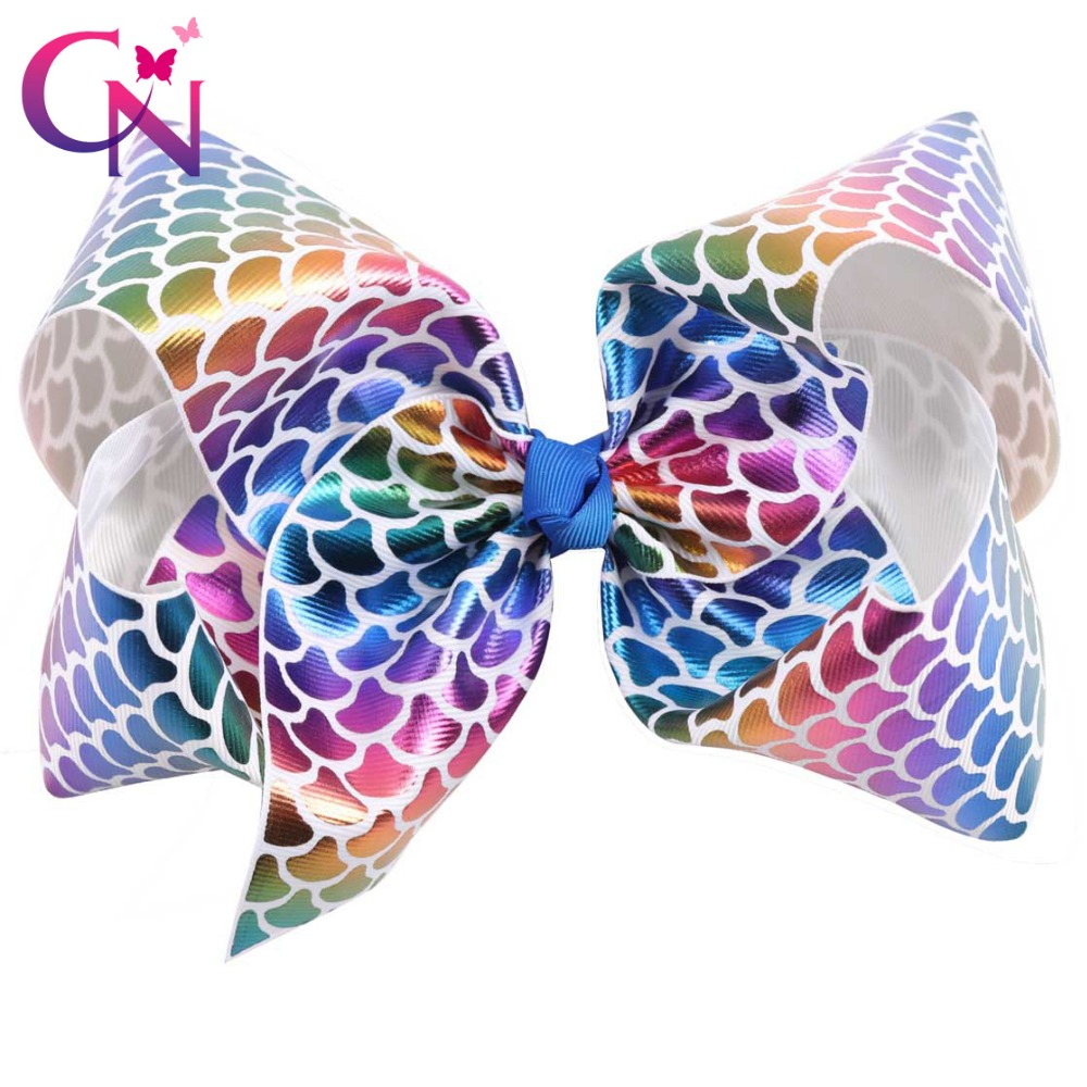 4 Pieces/lot 7 Mermaid Hair Bows With Clips For Kids Girls Large Rainbow Fish Scale Ribbon Bows Hairgrips Hair Accessories 1 set new girls colorful carton hair clips small crabs hair claw clips mini hairpin kids hair ornaments claw clip