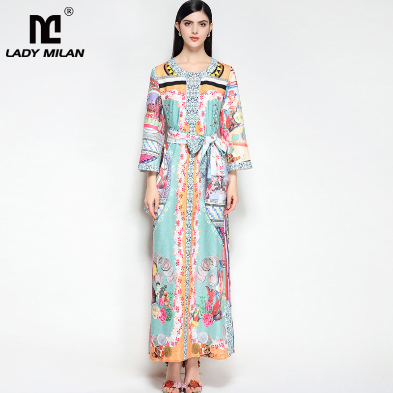 New Arrival 2018 Womens O Neck 3/4 Sleeves Floral Printed Loose Design Sash Belt Plus Sizes Fashion Casual Long Dresses