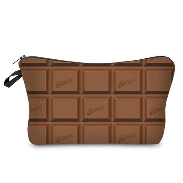 Fashion 3D Chocolate Printing Women Organizer Pouch Storage Zipped Makeup Bag Gifts Lady Girls Travel Cosmetics Bags AB@W3