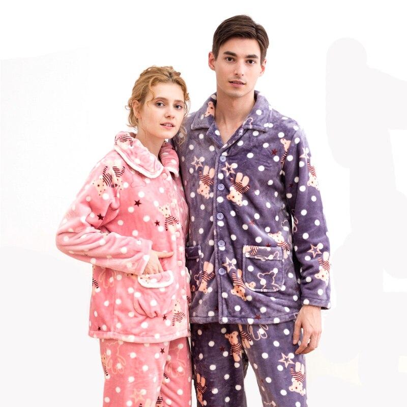 Coral velvet couple plus velvet padded winter pajamas warm men and women cute cartoon home service