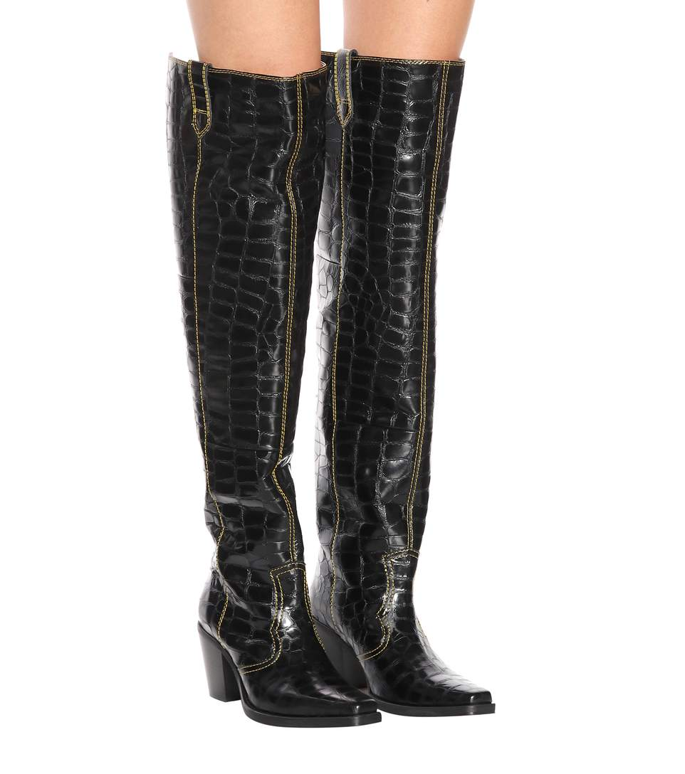 Черные ковбойские сапоги до бедра из лакированной кожи с крокодиловым принтом; женские Сапоги выше колена на блочном каблуке; острый квадра