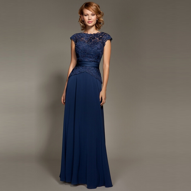 f08be8912266 Navy Blue Lace Top Chiffon Mother of Bride Dresses Floor Length A Line Belt  Real Photo