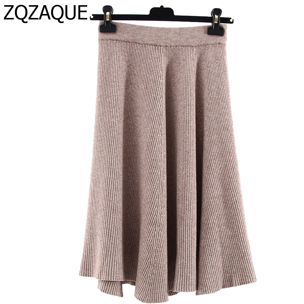 2018 Spring Autumn Female Thermal Quality Knitted Skirt Womens Elastic High  Waist Literary Style Warm Bottom Sweater Skirt SY900 6e249db35dd2