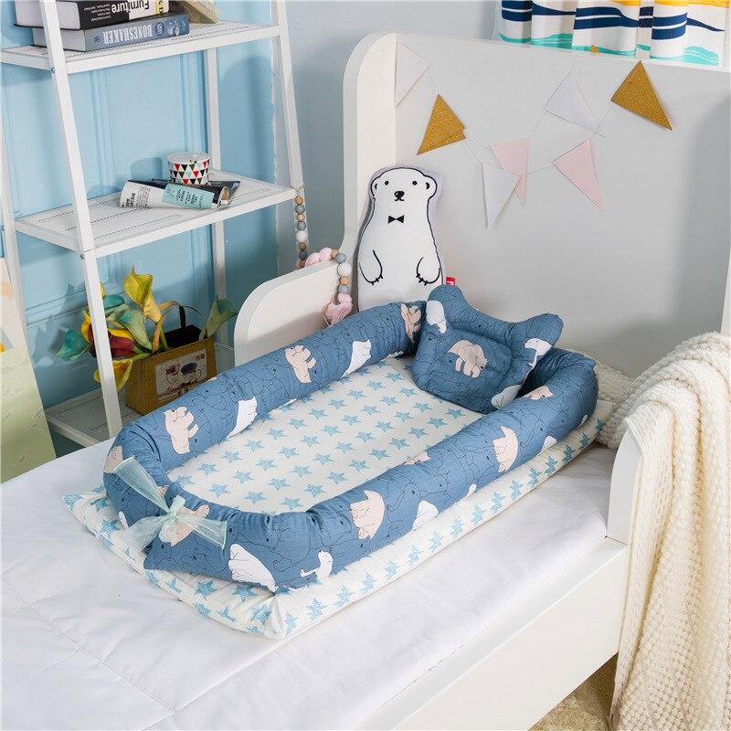 90*55 cm lit de nid de bébé lit de voyage Portable berceau en coton pour bébé nouveau-né berceau pare-chocs (pas de couette)