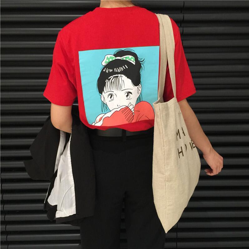 Koreanische sommer BF wind lose mädchen zurück gedruckt kurzarm-t-shirt
