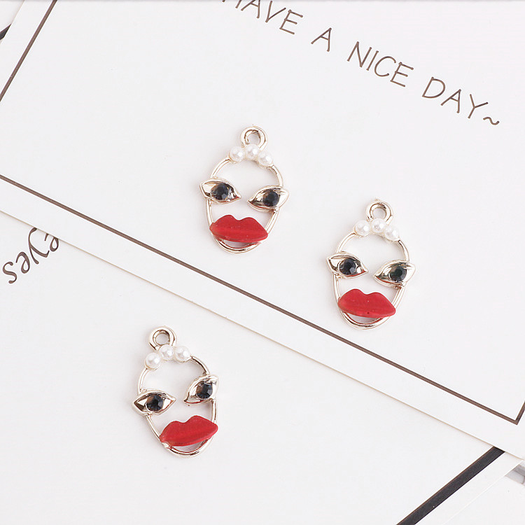 Kawaii Women with Red Lips Funny Metal Charm 10pcs/lot, Charms for Bracelet/Earring/Necklace, Jewelry Finding