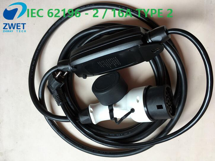 ZWET  IEC 62196 2/16A Type 2 electric vehicle charger IEC 62196 2 standard Type 2 NEW ELECTRIC CAR CHARGER EVSE LEVEL 1 M 3 pie-in Chargers & Service Equipment from Automobiles & Motorcycles    1