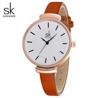 Fashion Quartz Watches Women SK Brand Casual Leather Wrist Watches Top Luxury Brand Ladies Dress Clock