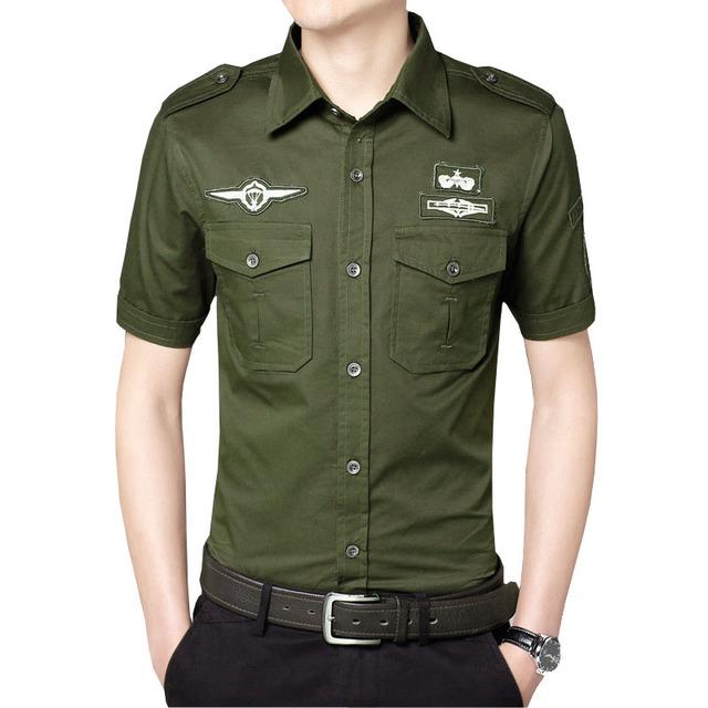 De alta calidad de algodón de manga corta camisas de los hombres camisa de vestir camisas hombre militar del ejército 3 colores M-3XL ACS01