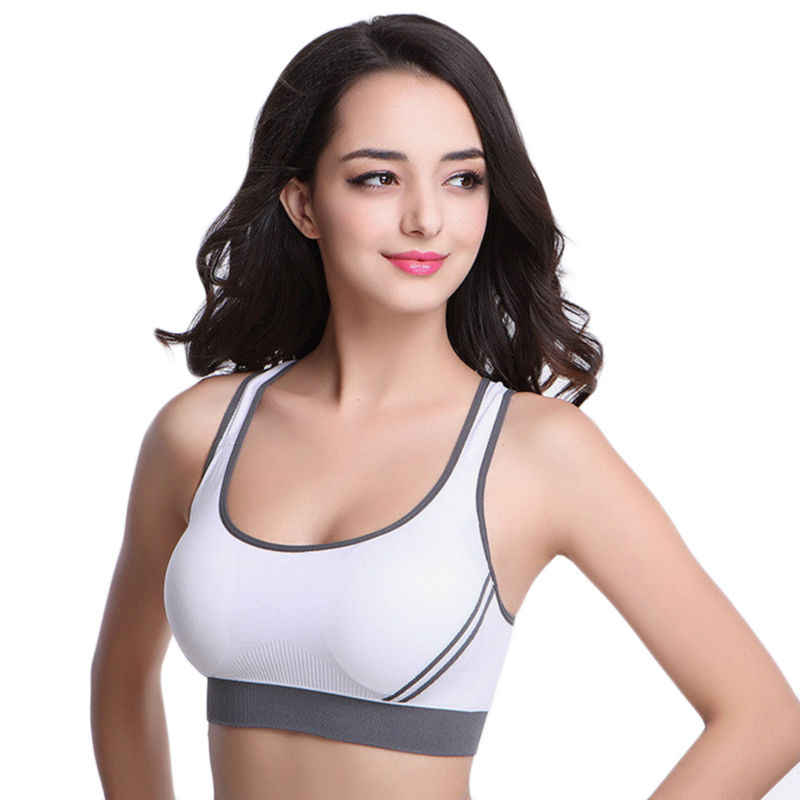 102120e726523d Sexy Woman Sportswear Fitness Running Clothes Women Jogging Yoga Racerback  Sports Bra Padded Underwear Tennis Vest