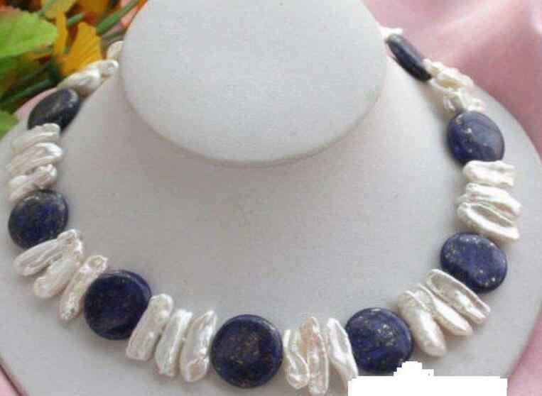 自然14ミリメートルコインラピス&白琵琶真珠のネックレス17 ''