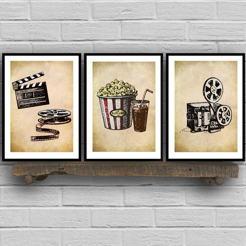 Movie Theater Vintage Art Canvas Posters Painting Wall Picture Popcorn Film Clapper Print Home Cinema Retro Decoration