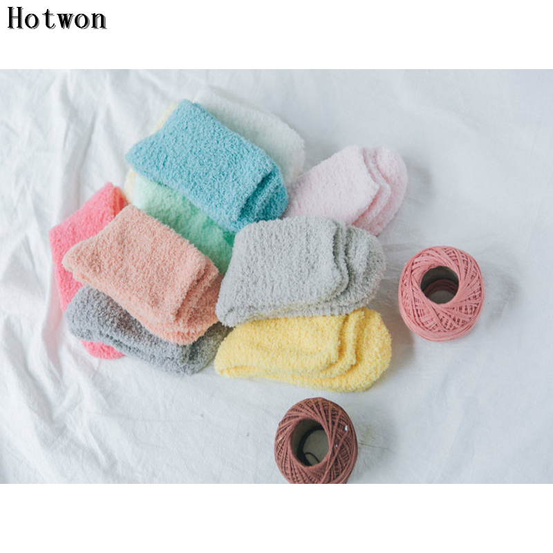 women 39 s candy color plush fuzzy socks sleeping bed floor socks cozy socks 1 pair in leg warmers. Black Bedroom Furniture Sets. Home Design Ideas