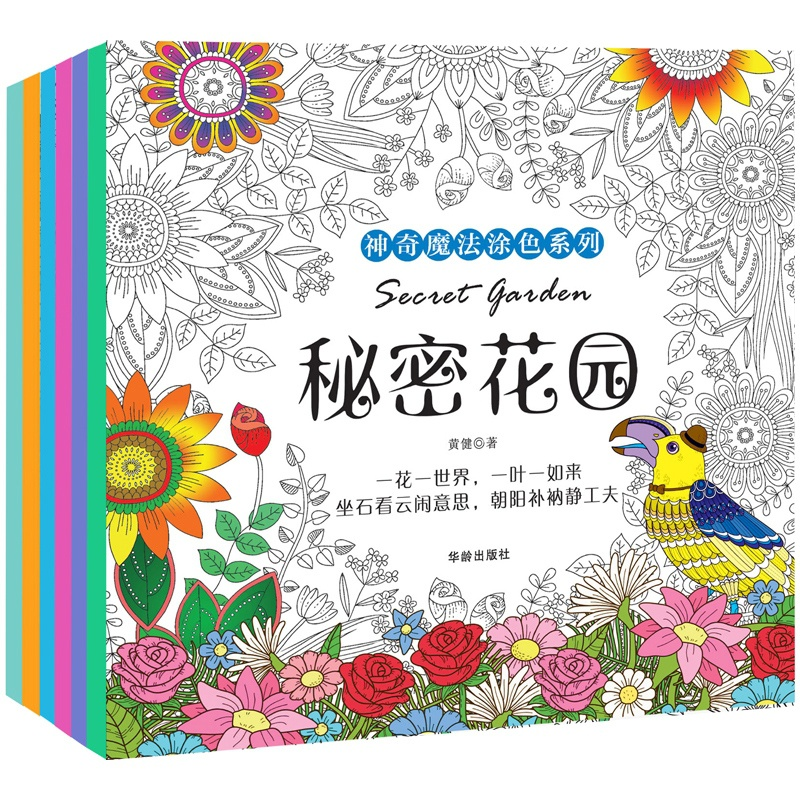 Secret Garden Coloring Books Full Set of 6 Volumes for Adults and Children Chinese Edition Paperback