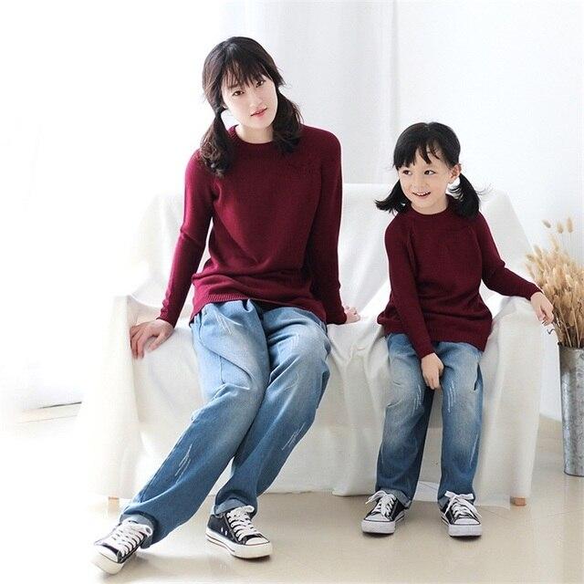 2017 бренд хлопок джинсовые синие мама и девочки детская одежда мальчик гарем длинные брюки семья clothing мать сын дочь джинсы брюки