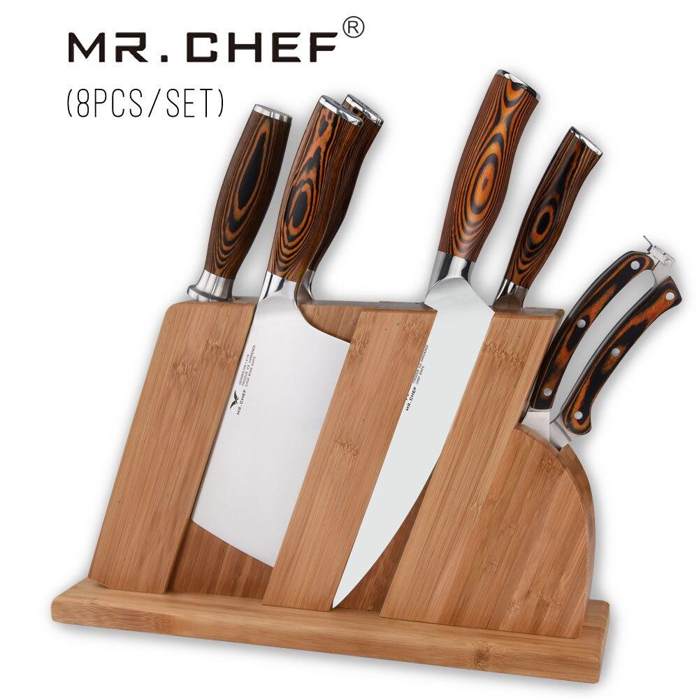 8 pcs/ensemble Professionnel Chef Couteaux De Cuisine De Qualité Coutellerie De Cuisine Allemand Acier X50 À Découper + Cleaver + Stand Couteau Pakkawood Poignée