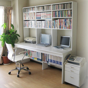 Cheap Double Desktop Computer Desk Bookcase Combination Home Bookshelf Minimalist Specials