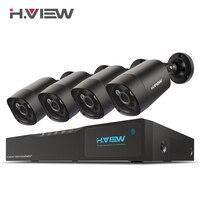 H. View 4mp комплект системы охранного видеонаблюдения 4mp камера безопасности Система 4 ch DVR 1080 P 2 K видео выход комплект CCTV Легкий Удаленный просм...