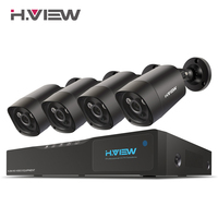 H.View 4mp CCTV Surveillance Kit 4mp Security Camera System 4 ch DVR 1080P 2K Video Output Kit CCTV Easy Remote View on Phone