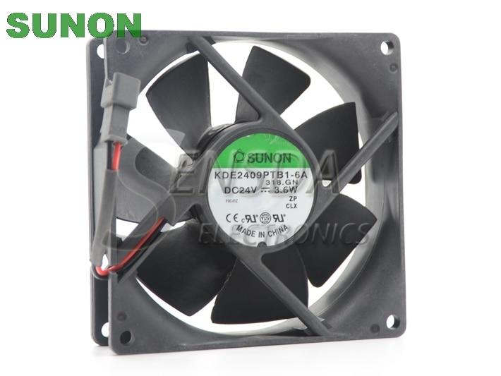 Original SUNON KDE2409PTB1-6A 9CM 92*92*25MM 9225 24V 3.6W Case Server Inverter Fan