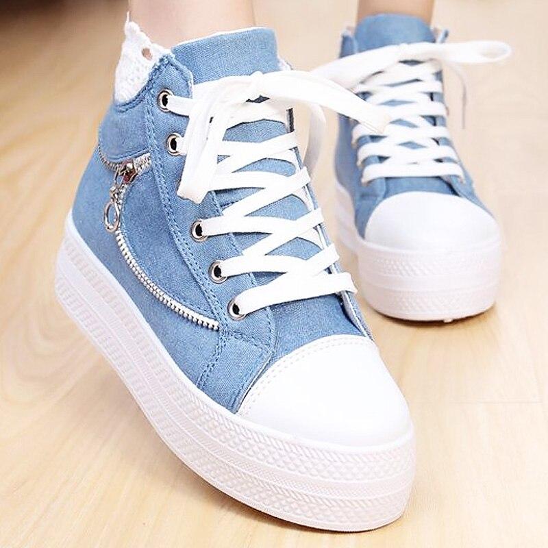High top denim fashion women shoes increasing lace-up zipper shoes woman solid cotton fabric platform women sneakers 2018 new