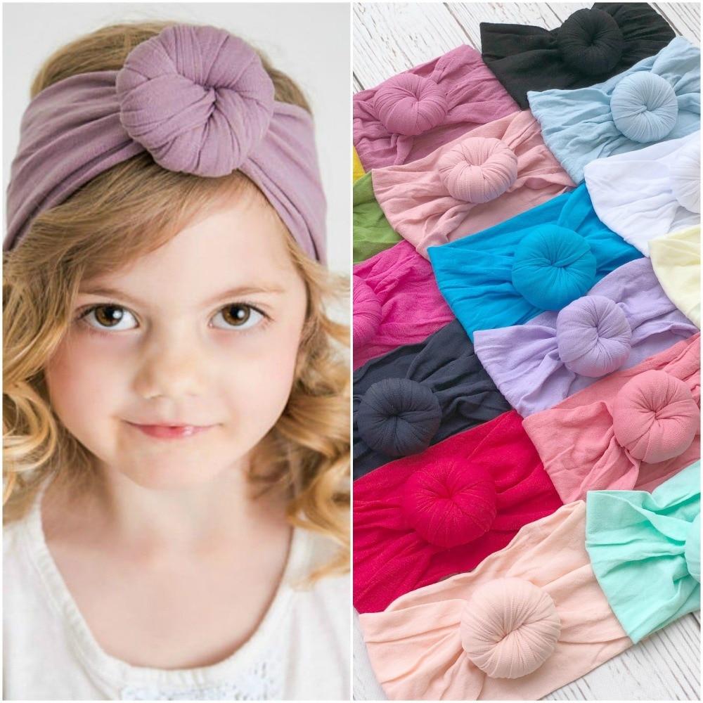 Wholesale Newborn Kids Handmade Soft Nylon Headbands Hair Bow Headband Children Girls bun top knots Headband   Headwear   36pc/lot
