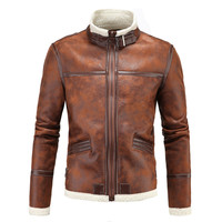 High quality Fur Strip Sewed Toghter Men leather jackets Collar Casual motorcycle leather jackets coat Dropshipping