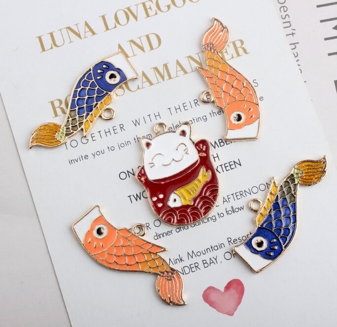 Hot Sale New 50 pcs mix cat  and  fish alloy Charms DIY Pendant Jewelry Making Decoration P-102