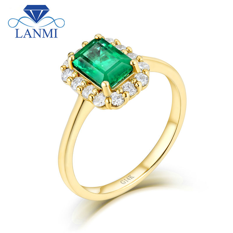 LANMI Solid 14K Yellow Gold Real Diamond Natural Emerald Promised Wedding Rings for Women Genuine Gemstone Jewelry solid 18k yellow gold green emerald wedding diamonds rings good quality genuine gemstone fine jewelry for women promised gift