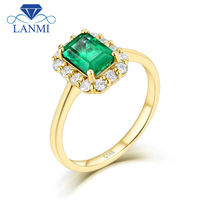 LANMI Solid 14K Yellow Gold Real Diamond Natural Emerald Promised Wedding Rings For Women Genuine Gemstone
