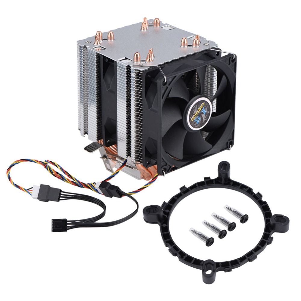 Dual Tower Quiet Computer CPU Cooling Fan 4Pin Cable 12 LED PC CPU Cooler