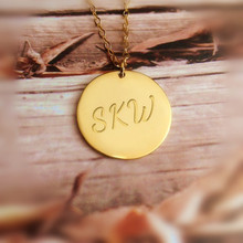 Solid Silver 1″ Disc Necklace Personalized Engraved Three Initals Letter Name Round Pendant Custom BFF Souvenir Gift