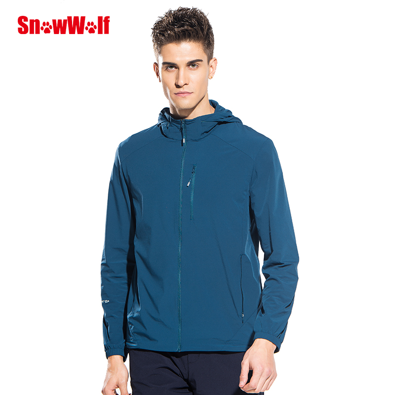 SNOWWOLF Outdoor UV Protect Waterproof Men Long sleeve spring autumn Hooded Jacket coat for Training Run Camping Hiking Jackets in Hiking Shirts from Sports Entertainment
