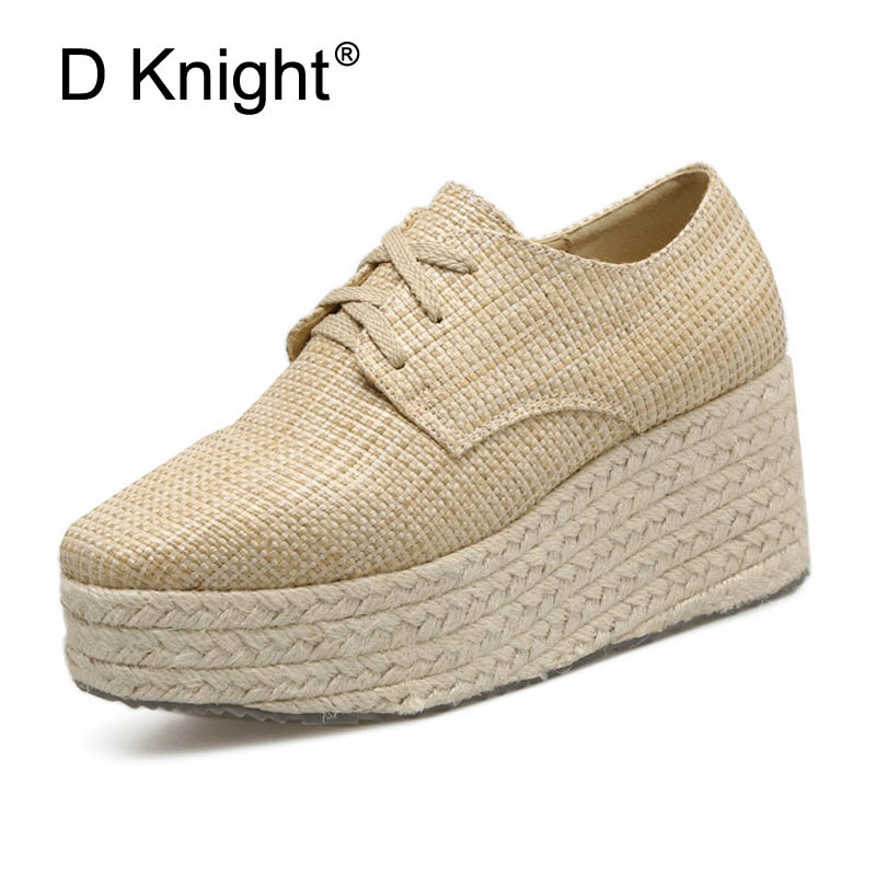 Fashion Cane Wedge Heel Pumps Platform PU Leather Casual Lace-up Woman Creepers Shoes Square Toe Female High Heels Oxfords Shoes bling patent leather oxfords 2017 wedges gold silver platform shoes woman casual creepers pink high heels high quality hds59