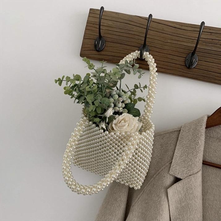 Nouveau-femmes Vintage Imitation perles sac à main printemps à la mode rétro Chic Top poignée sac femme petite taille perles classique élégant - 3