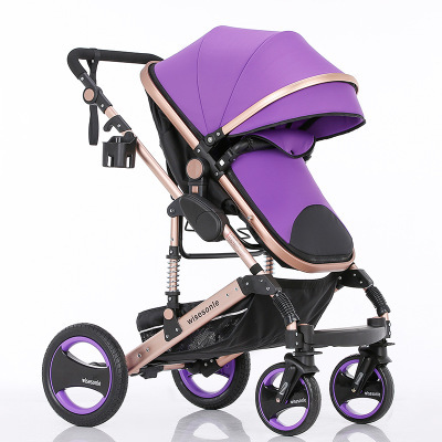 Aluminum alloy high landscape stroller two-way light can sit lie suspension baby cart