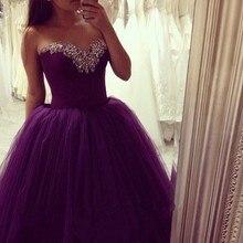 Neue Lila Ballkleid Abendkleider Schöne Schatz Bodenlangen Perlen Tüll Lange Abendkleid vestidos de baile
