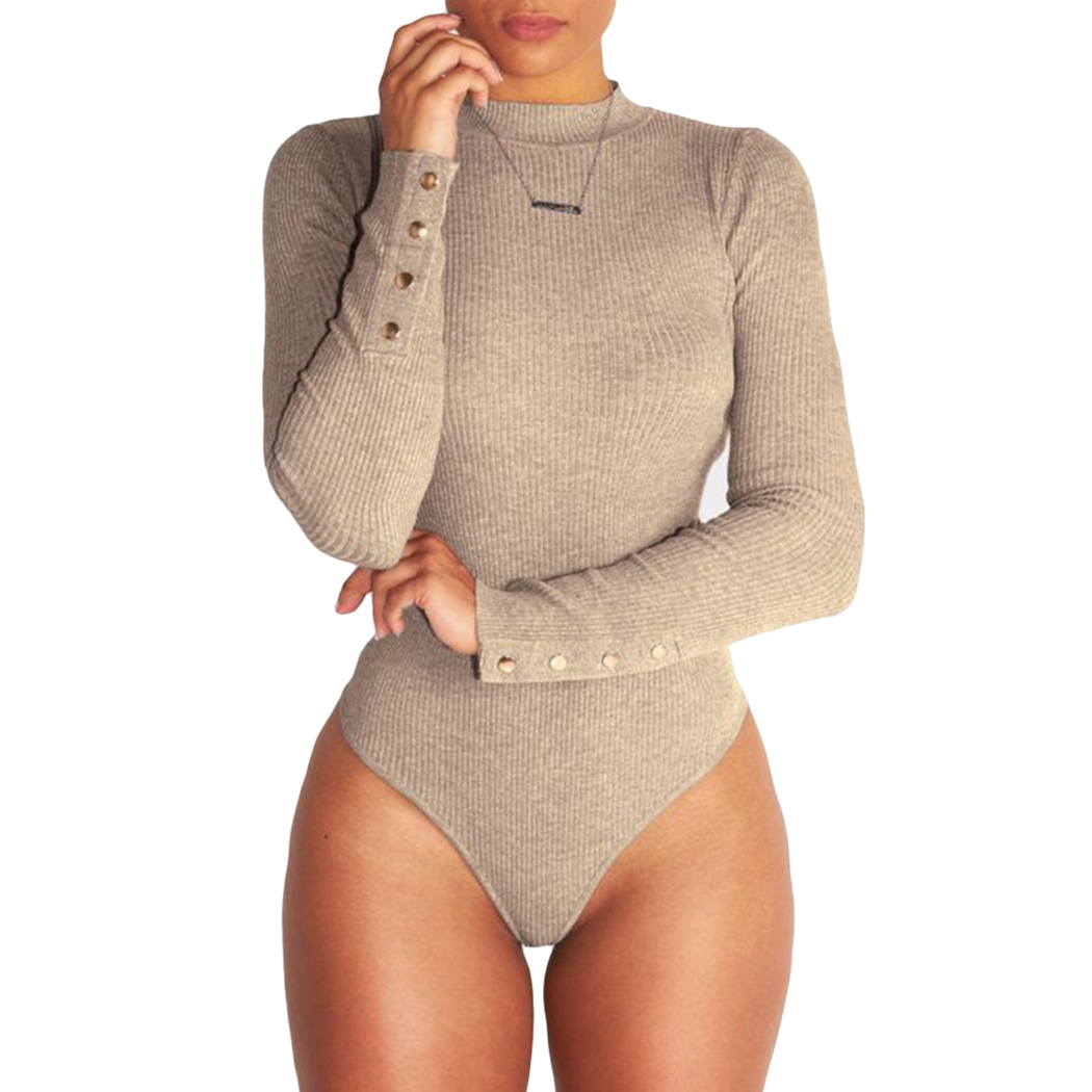 Sexy Women Turtleneck Bodysuit Long Sleeve Stretch Ladies Solid Playsuit Body Slim Jumpsuit Overalls Spring Winter Femme Rompers