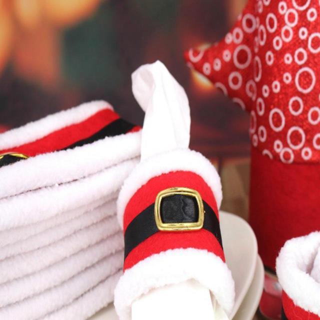 4pcs Christmas Napkin Rings Xmas Belt Buckle Santa Claus Cover