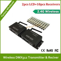 DHL Free Shipping Piece 2 4G Wireless DMX Controller Transmitter And 10 Pcs Receiver LED Lighting