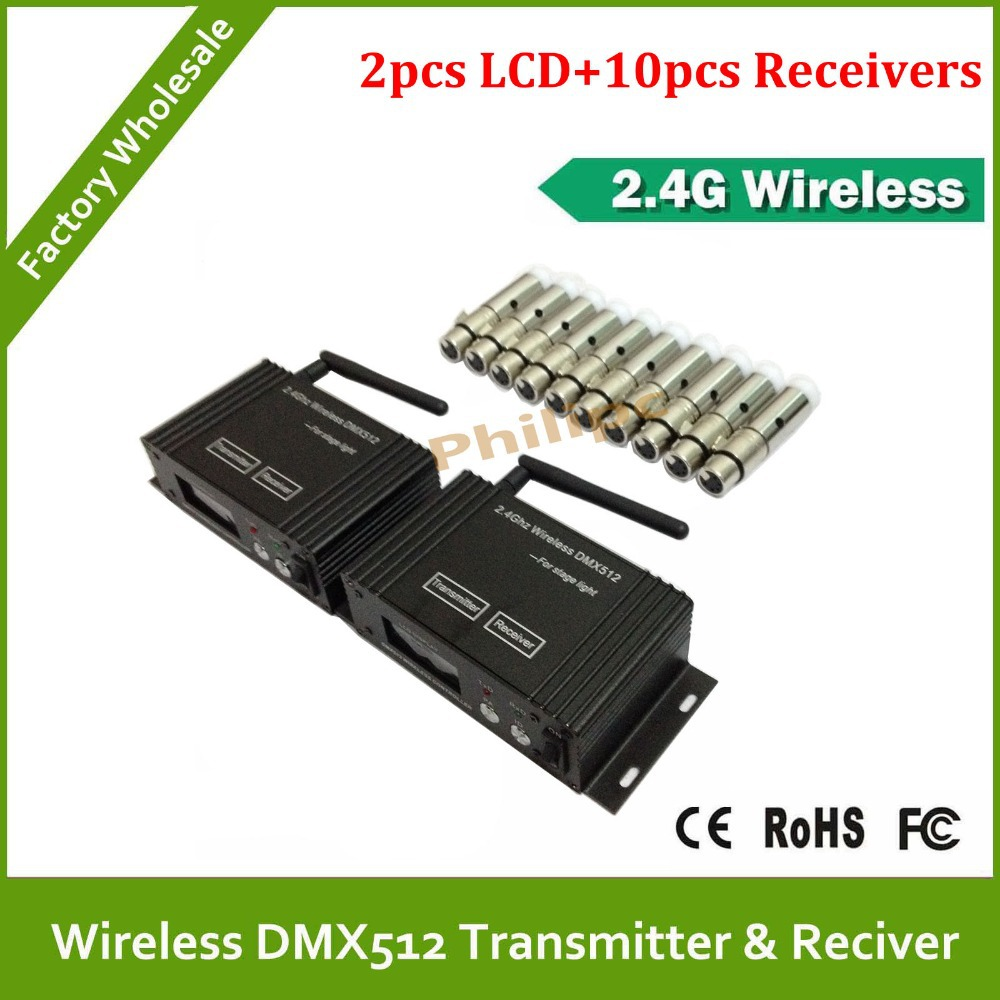 DHL Free shipping piece 2.4G Wireless DMX controller transmitter and 10 pcs receiver, LED Lighting DMX 512 controller 2 pcs lot transceiver dmx 512 control wireless transmitter