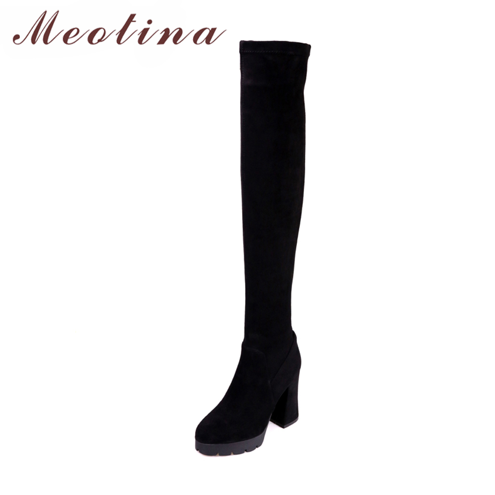 Meotian Thigh High Boots Genuine Leather Over the Knee Boots Women Winter Suede Platform High Heel Slim Boots 2018 Autumn Shoes