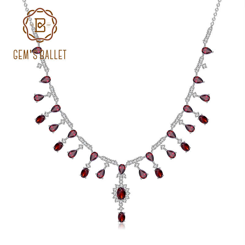 GEM'S BALLET 15.2Ct Natural Red Garnet Necklace 925 Sterling Silver Gemstone Wedding Bridal Necklace For Women Fine Jewelry