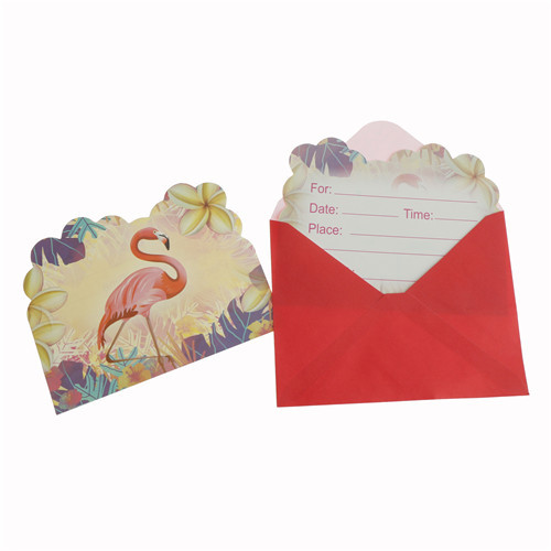 6pcs flamingo party invitations happy birthday party cards envelops