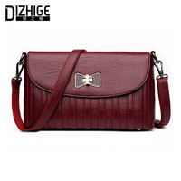 DIZHIGE Brand Fashion Bow Crossbody Bags Women Leather Handbags Lock Shoulder Bags Ladies High Quality Small